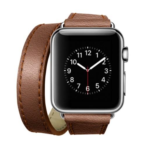 Double Tour-Band für Apple Watch 42 mm - Cognac - Ziegenleder