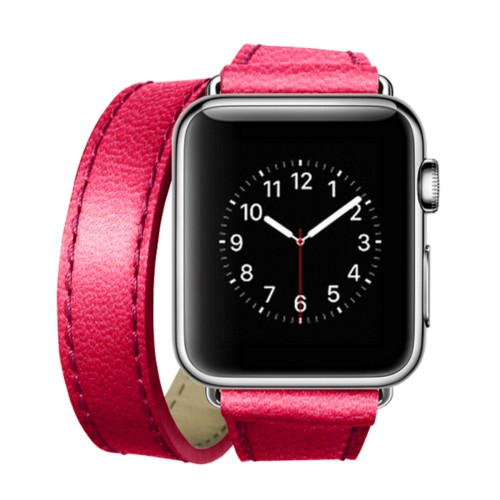 Double Tour-Band für Apple Watch 42 mm - Fuchsia  - Ziegenleder