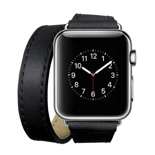 Double Tour-Band für Apple Watch 42 mm - Schwarz - Ziegenleder