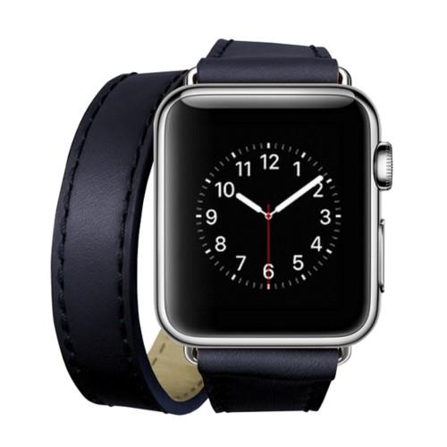 Double Tour-Band für Apple Watch 42 mm - Königsblau  - Glattleder