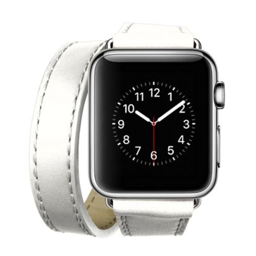 Double Tour-Band für Apple Watch 42 mm - Weiß - Glattleder