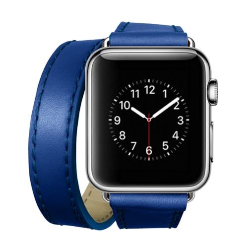 Double Tour-Band für Apple Watch 42 mm - Azurblau  - Glattleder