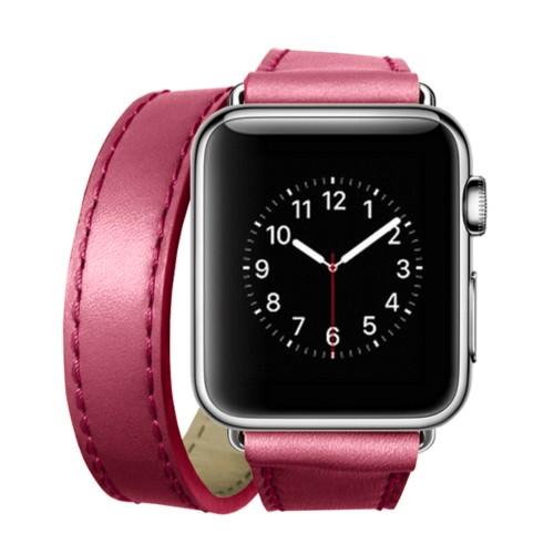 Double Tour-Band für Apple Watch 42 mm - Fuchsia  - Glattleder