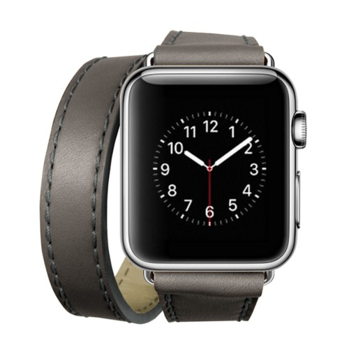 Double Tour-Band für Apple Watch 42 mm - Mausgrau - Glattleder