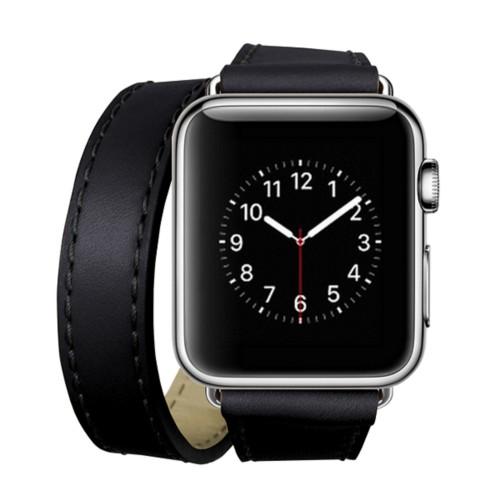Double Tour-Band für Apple Watch 42 mm - Schwarz - Glattleder