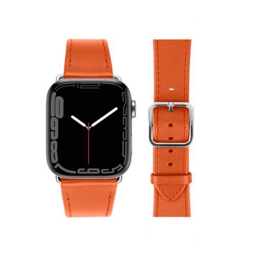 Bracelet élégance Apple Watch Series 5 - (40 mm) - Orange - Cuir Lisse