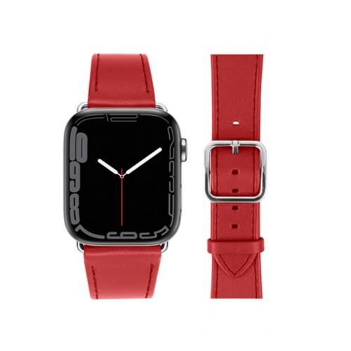 Bracelet élégance Apple Watch Series 5 - (40 mm) - Rouge - Cuir Lisse