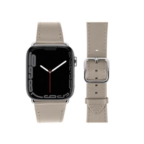 Bracelet élégance Apple Watch Series 5 - (40 mm) - Taupe Clair - Cuir Lisse