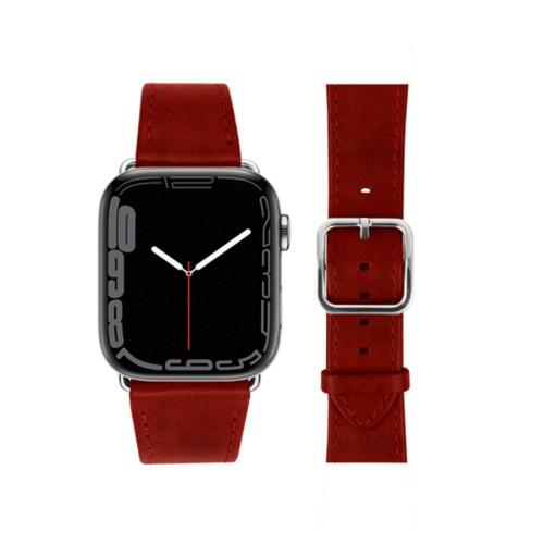 Bracelet élégance Apple Watch Series 5 - (40 mm) - Carmin - Cuir végétal