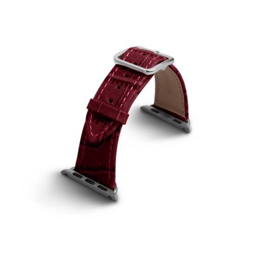 Apple Watch-Armband 38 mm in Krokodiloptik - Fuchsia  - Krokodilartiges