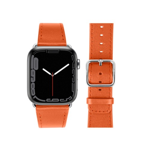Apple Watch Series 4 Watch Band - (44 mm) - Orange - Smooth Leather
