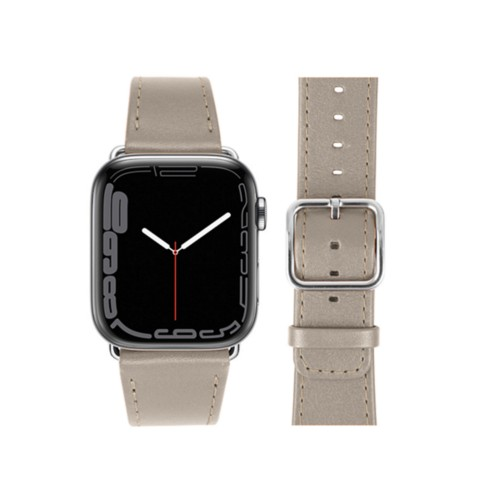 Apple Watch Series 5 Watch Band - (44 mm) - Light Taupe - Smooth Leather