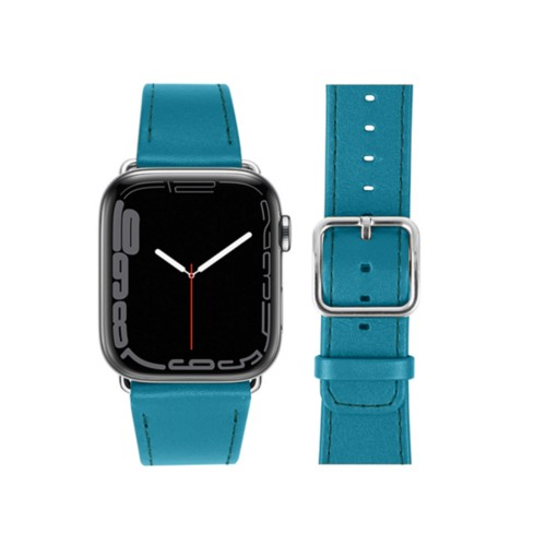 Apple Watch Series 4 Watch Band - (44 mm) - Turquoise - Smooth Leather