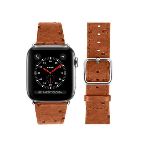 Bracelet Apple Watch 42 mm - Cognac - Autruche Véritable