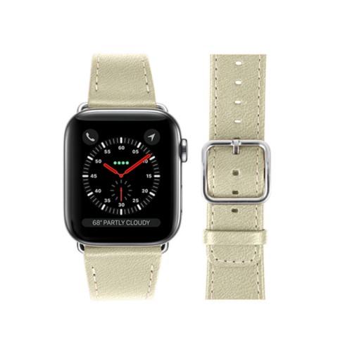 Bracelet Apple Watch 42 mm - Blanc Cassé - Cuir de Chèvre