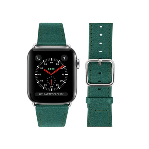 Bracelet Apple Watch 42 mm - Vert Foncé - Cuir de Chèvre