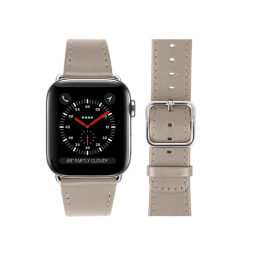 Bracelet Apple Watch 42 mm - Taupe Clair - Cuir Lisse