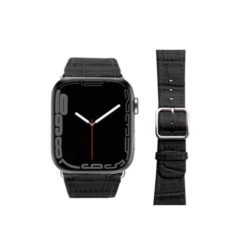 Apple Watch-Armband 42 mm in Krokodiloptik - Schwarz - Krokodilartiges