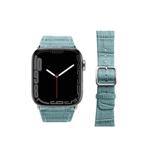 Croc Apple Watch Strap 42 mm - Turquoise - Crocodile style calfskin