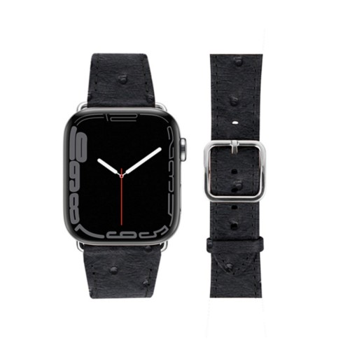 Apple Watch Series 4 Elegance Watch Band - (44 mm) - Black - Real Ostrich Leather
