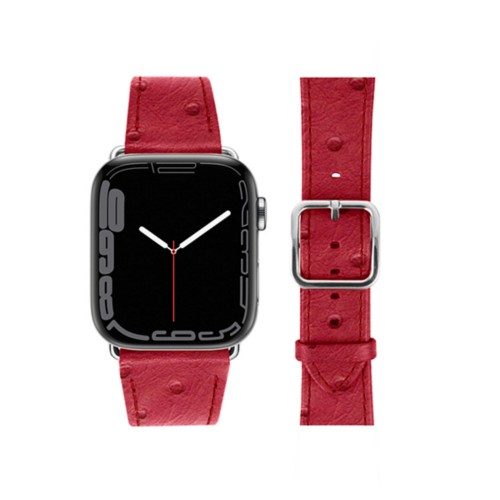 Apple Watch Series 4 Elegance Watch Band - (44 mm) - Red - Real Ostrich Leather