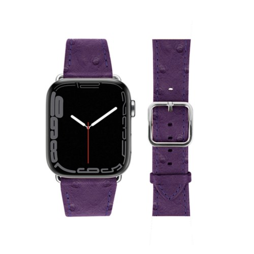 Apple Watch Series 4 Elegance Watch Band - (44 mm) - Purple - Real Ostrich Leather