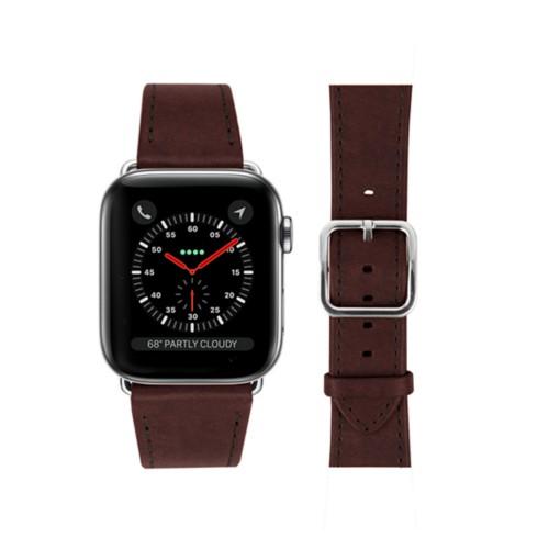 Bracelet Apple Watch - 42 mm – Elégance - Marron Foncé - Cuir végétal