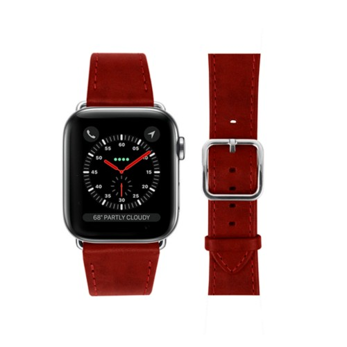 Bracelet Apple Watch - 42 mm – Elégance - Carmin - Cuir végétal