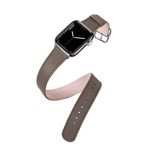 Apple Watch Series 4 Double Tour Watchband - (44 mm) - Dark Taupe - Goat Leather