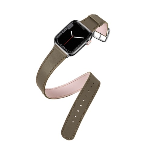 Apple Watch Series 4 Double Tour Watchband - (44 mm) - Dark Taupe - Smooth Leather