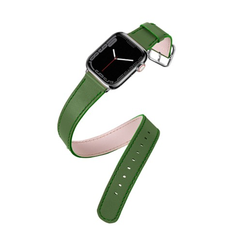 Apple Watch Series 4 Double Tour Watchband - (44 mm) - Light Green - Smooth Leather