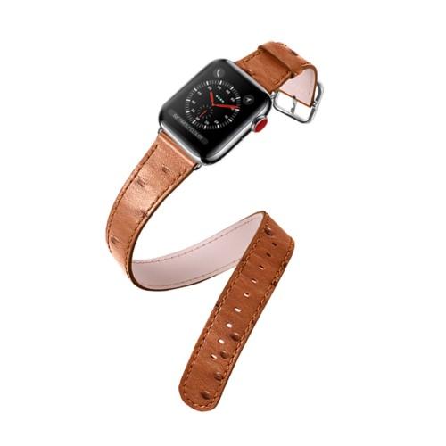 Bracelet Double Tour pour Apple Watch 42mm - Cognac - Autruche Véritable