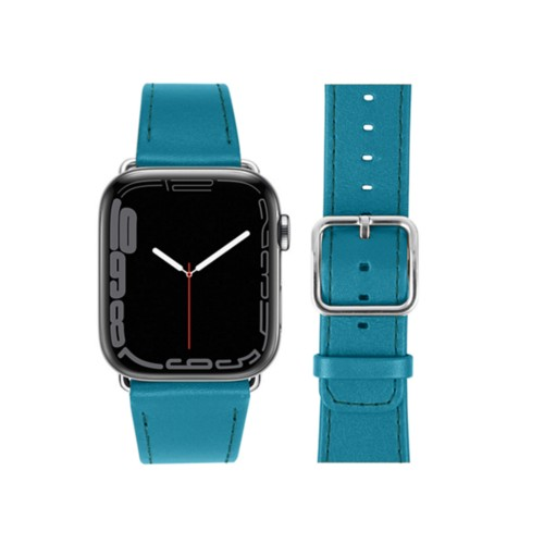Bracelet Apple Watch Series 5 Classic - (40 mm) - Turquoise - Cuir Lisse