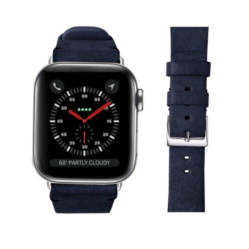 Bracelet cuir végétal Apple Watch 42 mm - Bleu Marine - Cuir végétal
