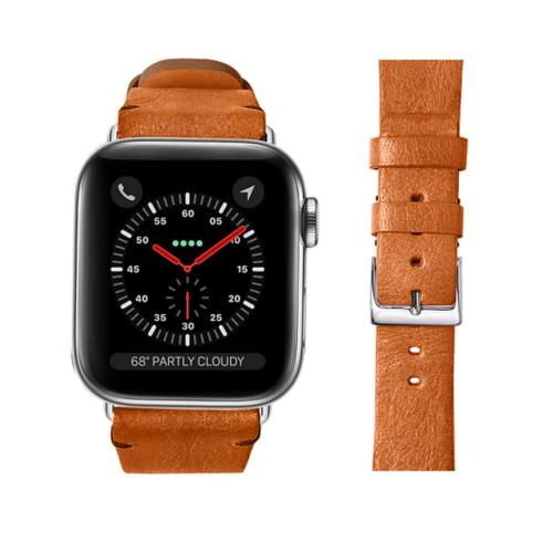 Bracelet cuir végétal Apple Watch 42 mm - Cognac - Cuir végétal
