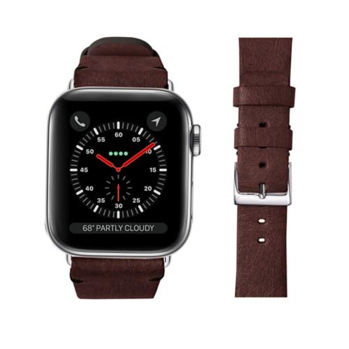 Bracelet cuir végétal Apple Watch 42 mm - Marron Foncé - Cuir végétal