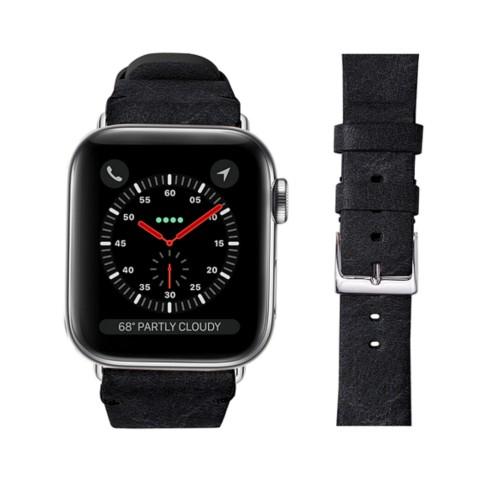 Bracelet cuir végétal Apple Watch 42 mm - Noir - Cuir végétal