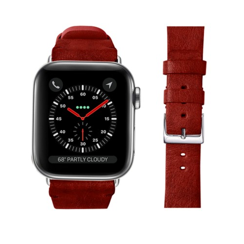 Apple Watch band 42 mm in vegetable-tanned leather - Carmine - Vegetable Tanned Leather