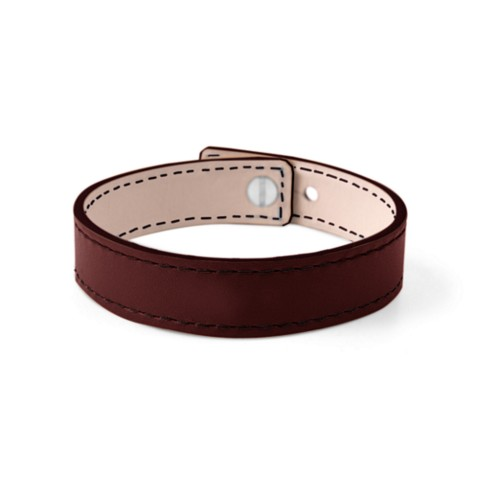 Leather Bracelet for Men & Women - Burgundy - Smooth Leather