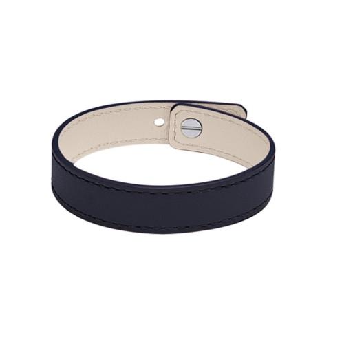 Leather Bracelet for Men & Women - Navy Blue - Smooth Leather