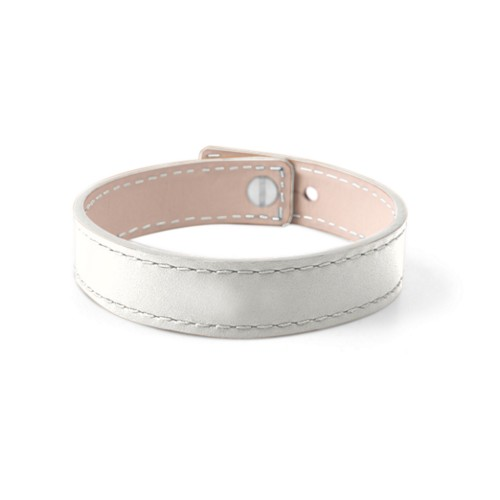 Leather Bracelet for Men & Women - White - Smooth Leather
