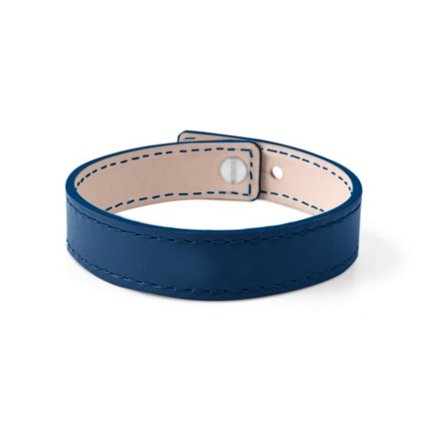 Leather Bracelet for Men & Women - Royal Blue - Smooth Leather