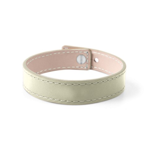 Leather Bracelet for Men & Women - Off-White - Smooth Leather