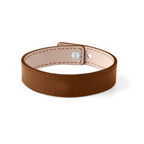 Leather Bracelet for Men & Women - Tan - Smooth Leather