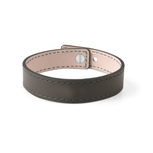 Leather Bracelet for Men & Women - Mouse-Grey - Smooth Leather