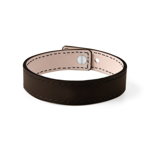 Leather Bracelet for Men & Women - Dark Brown - Smooth Leather