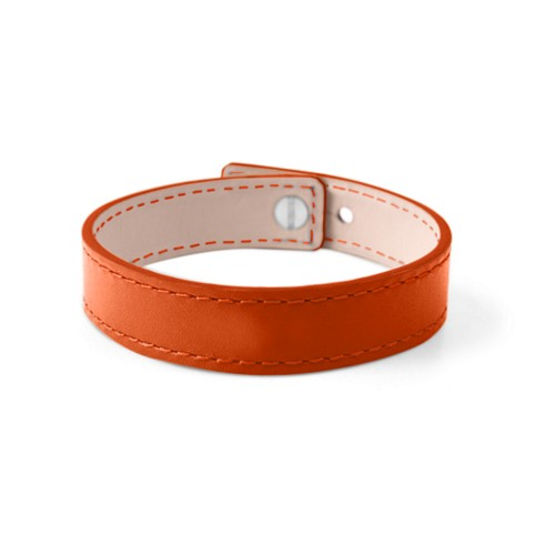 Leather Bracelet for Men & Women - Orange - Smooth Leather