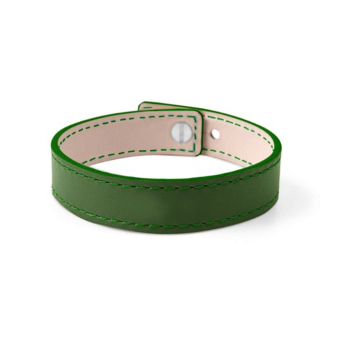 Leather Bracelet for Men & Women - Light Green - Smooth Leather