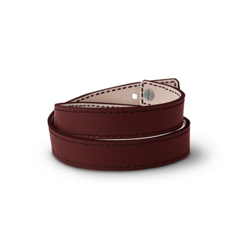 Leather Wristband Bracelet for Men & Women - Burgundy - Smooth Leather