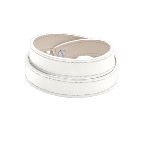 Leather Wristband Bracelet for Men & Women - White - Smooth Leather